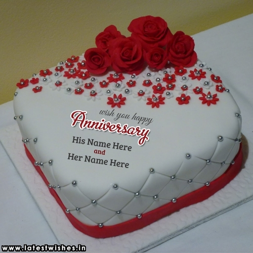 Write Name On Red Rose Flower Anniversary Cake