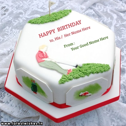 Incredible Golf Birthday Cake With His Her And Your Name Latestwishes In Birthday Cards Printable Opercafe Filternl