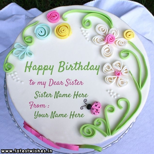 Birthday Cake For Sister With Name Written Image