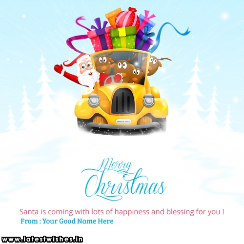 Merry Christmas Happiness wishes photo with name