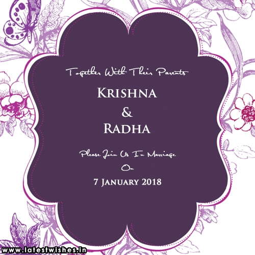 purple wedding invitation card with names create