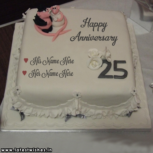 25th anniversary wishes cake for parents with name