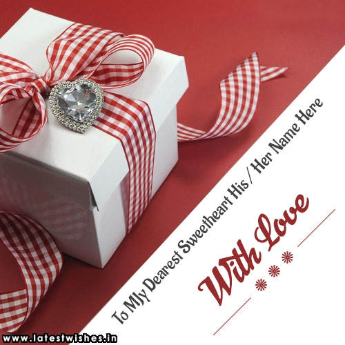 sweetheart name on gift box image with love text